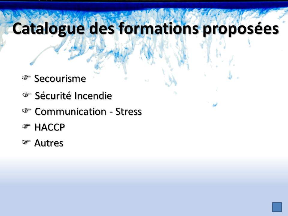 Sécurité Incendie Sécurité Incendie Secourisme Secourisme Communication - Stress Communication - Stress HACCP HACCP Autres Autres Catalogue des format