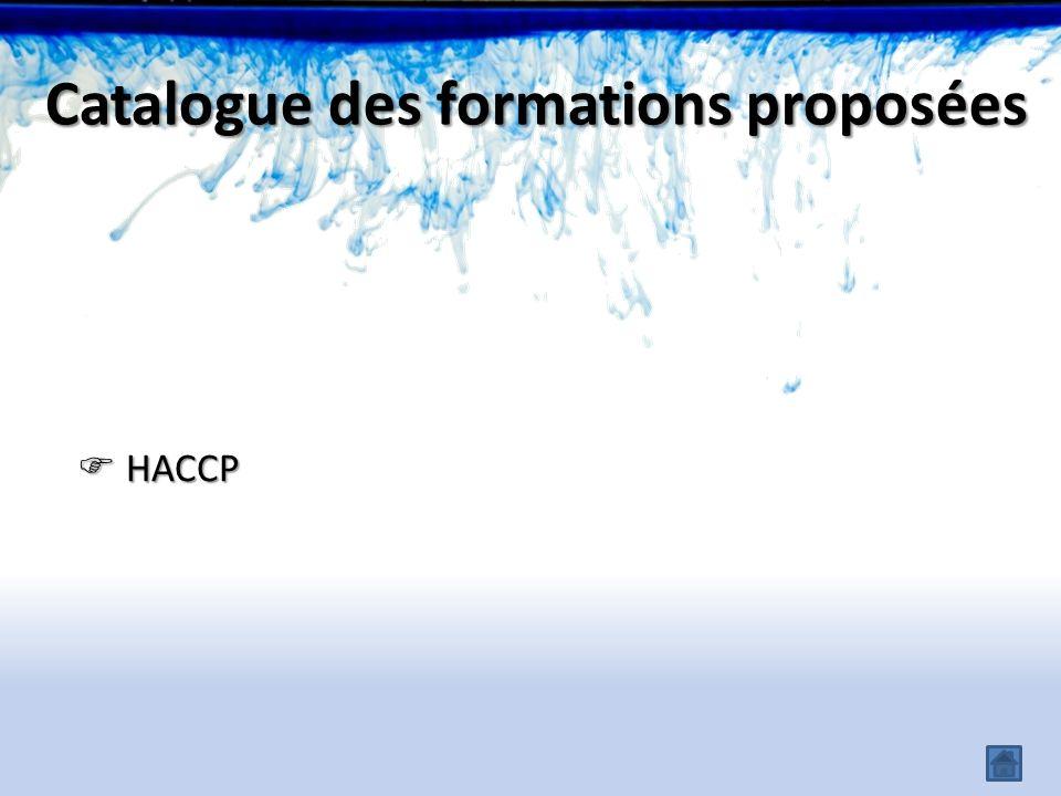 HACCP HACCP Catalogue des formations proposées