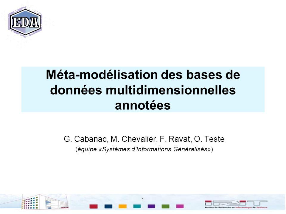 1 Méta-modélisation des bases de données multidimensionnelles annotées G. Cabanac, M. Chevalier, F. Ravat, O. Teste (équipe «Systèmes dInformations Gé