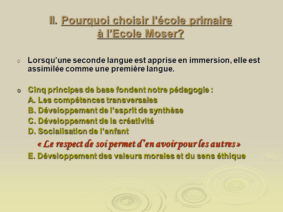 II. Pourquoi choisir lécole primaire à lEcole Moser.