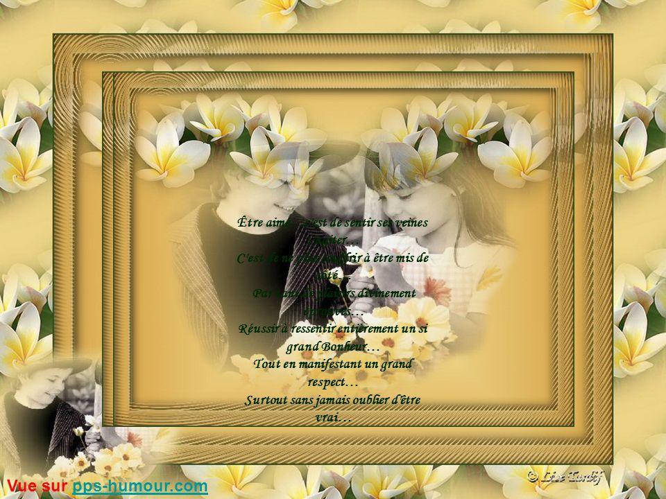 Être aimé…c est de sentir ses veines s agiter… C est de ne plus souffrir à être mis de côté… Par tant de plaisirs divinement éprouvés… Réussir à ressentir entièrement un si grand Bonheur… Tout en manifestant un grand respect… Surtout sans jamais oublier d être vrai… Vue sur pps-humour.compps-humour.com