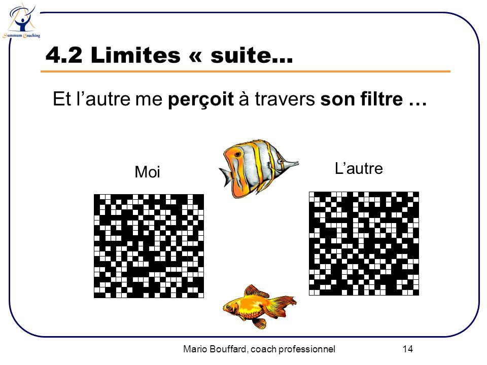 Mario Bouffard, coach professionnel 14 4.2 Limites « suite… Et lautre me perçoit à travers son filtre … Moi Lautre