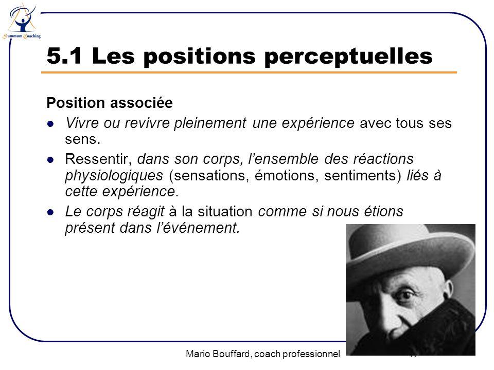 Mario Bouffard, coach professionnel 17 5.1 Les positions perceptuelles Position associée Vivre ou revivre pleinement une expérience avec tous ses sens