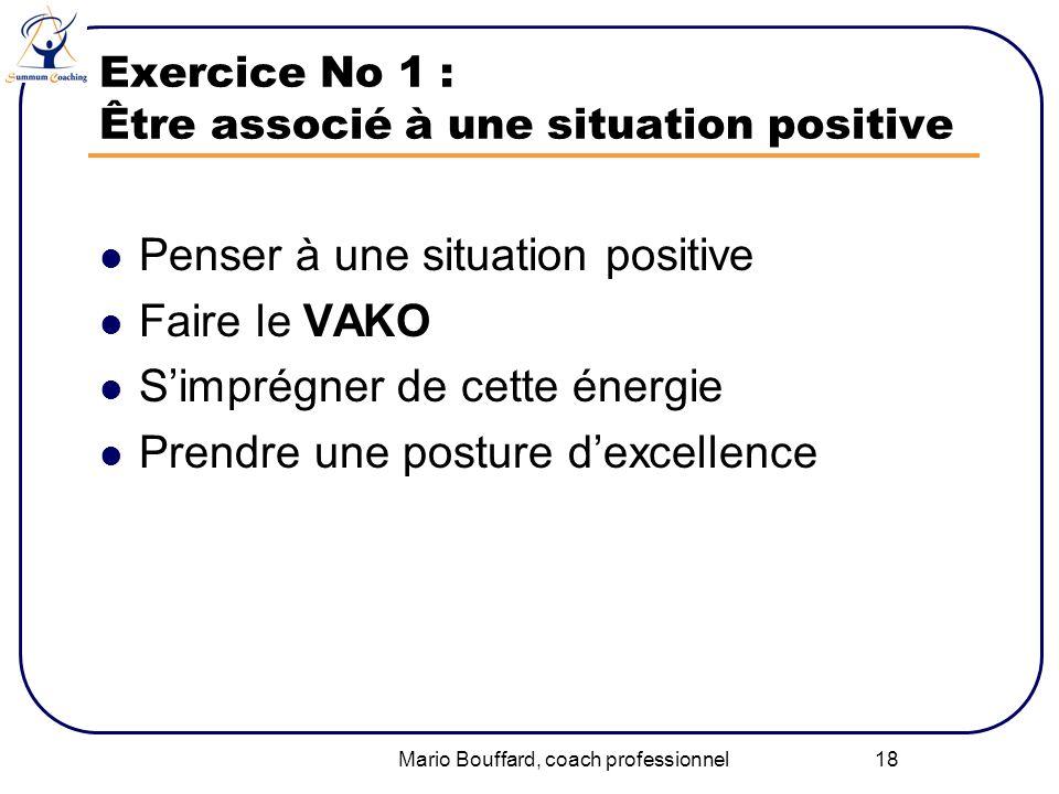 Mario Bouffard, coach professionnel 18 Exercice No 1 : Être associé à une situation positive Penser à une situation positive Faire le VAKO Simprégner