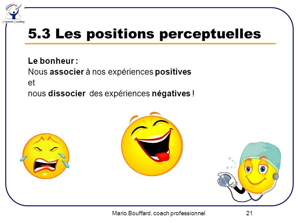 Mario Bouffard, coach professionnel 21 5.3 Les positions perceptuelles Le bonheur : Nous associer à nos expériences positives et nous dissocier des ex