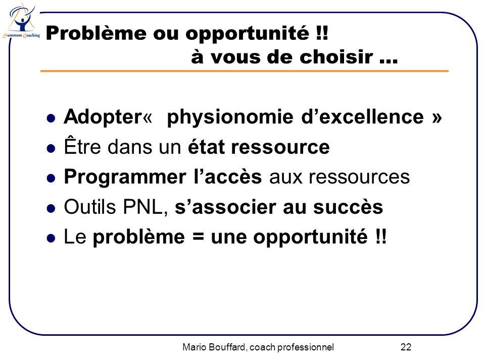 Mario Bouffard, coach professionnel 22 Problème ou opportunité !! à vous de choisir … Adopter« physionomie dexcellence » Être dans un état ressource P