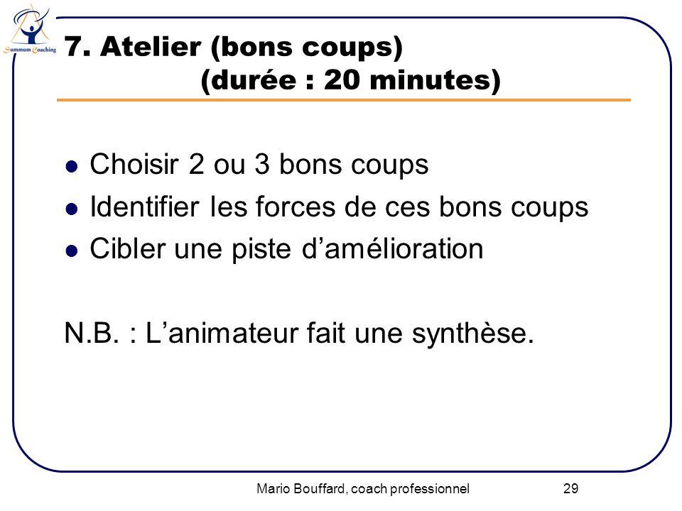 Mario Bouffard, coach professionnel 29 7. Atelier (bons coups) (durée : 20 minutes) Choisir 2 ou 3 bons coups Identifier les forces de ces bons coups
