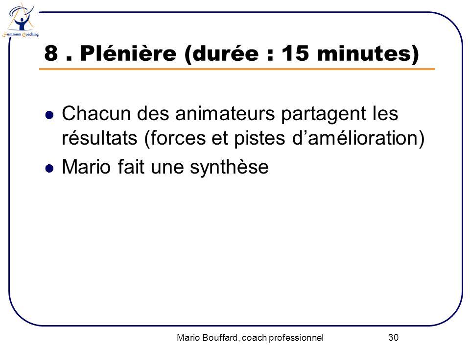 Mario Bouffard, coach professionnel 30 8. Plénière (durée : 15 minutes) Chacun des animateurs partagent les résultats (forces et pistes damélioration)