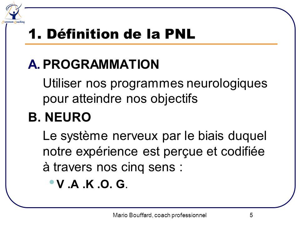 Mario Bouffard, coach professionnel 5 1. Définition de la PNL A.PROGRAMMATION Utiliser nos programmes neurologiques pour atteindre nos objectifs B. NE