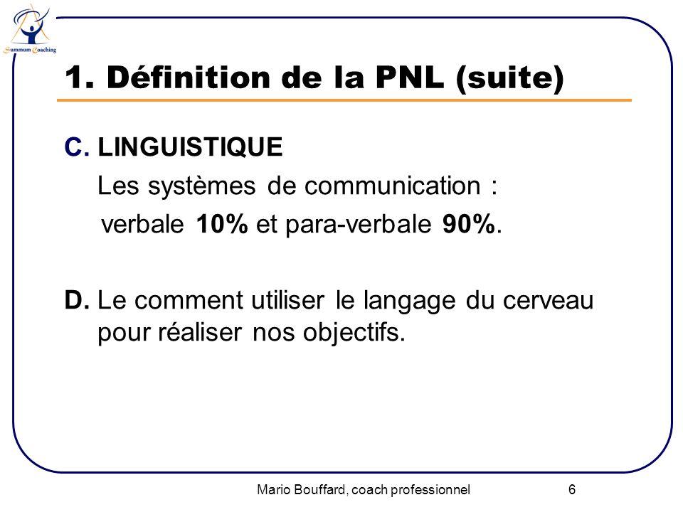 Mario Bouffard, coach professionnel 6 1. Définition de la PNL (suite) C.LINGUISTIQUE Les systèmes de communication : verbale 10% et para-verbale 90%.