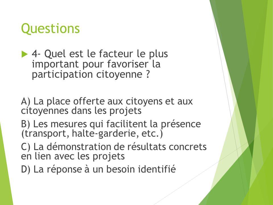 Questions 4- Quel est le facteur le plus important pour favoriser la participation citoyenne .