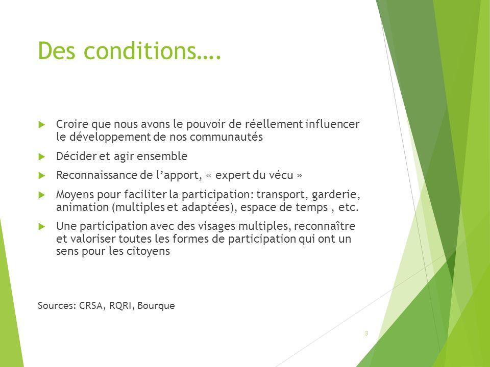 Des conditions….