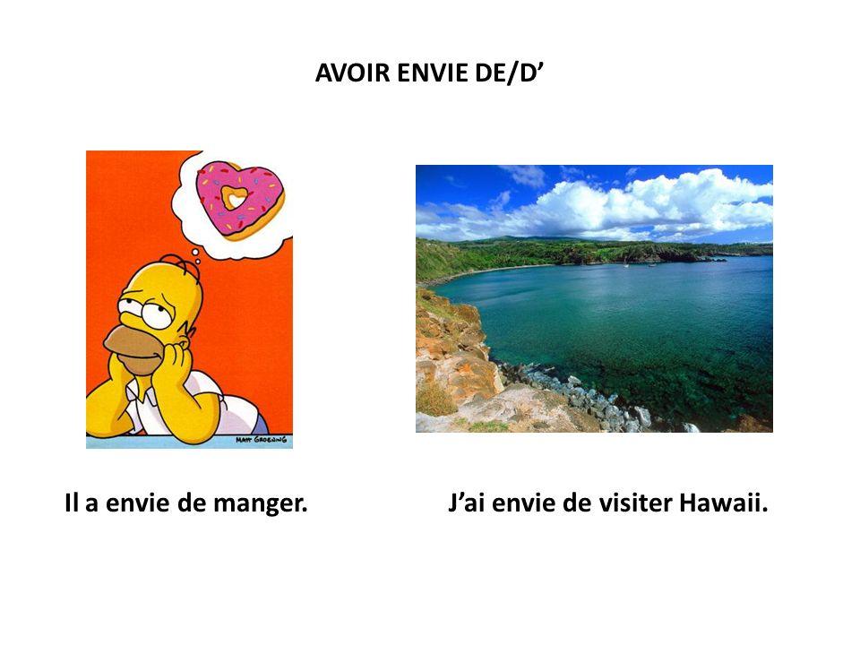 AVOIR ENVIE DE/D Il a envie de manger.Jai envie de visiter Hawaii.