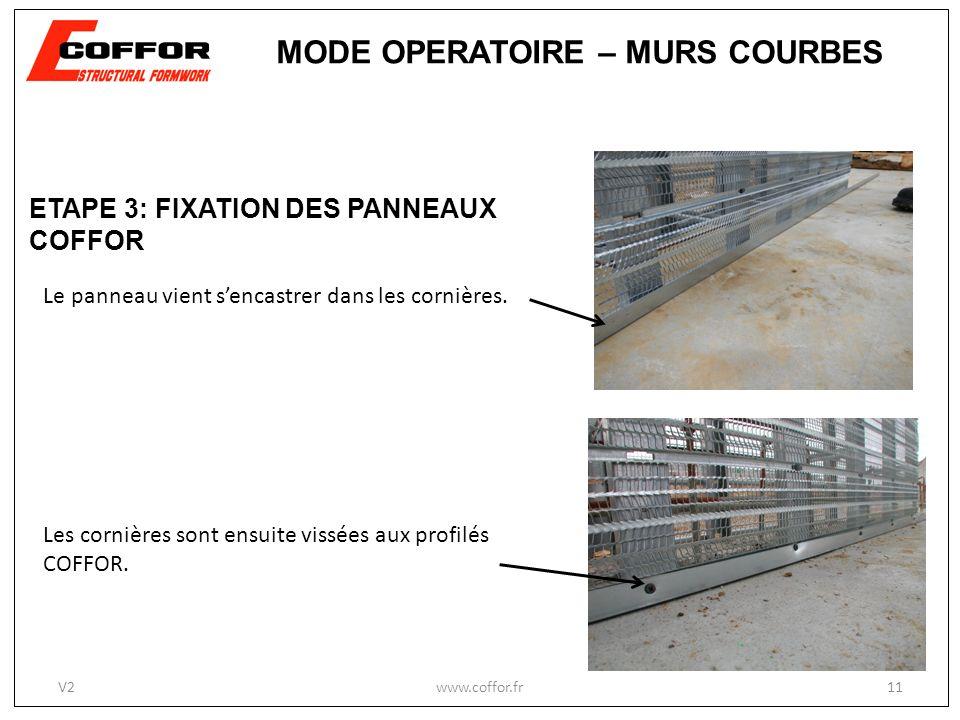 www.coffor.fr11 MODE OPERATOIRE – MURS COURBES V2 Les cornières sont ensuite vissées aux profilés COFFOR. Le panneau vient sencastrer dans les cornièr