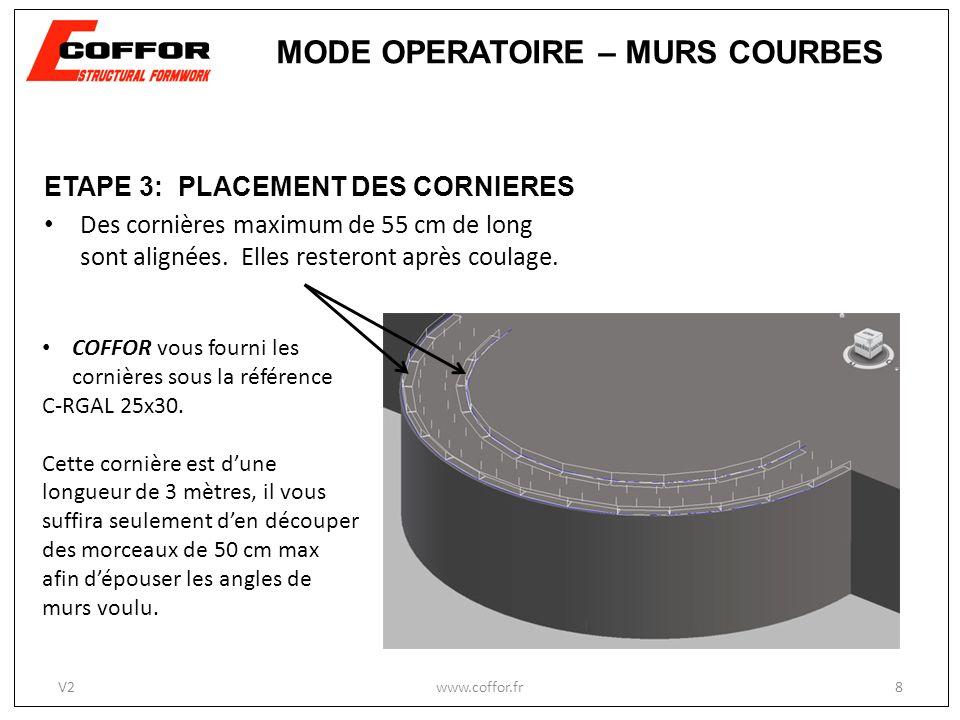 www.coffor.fr8 MODE OPERATOIRE – MURS COURBES V2 ETAPE 3: PLACEMENT DES CORNIERES Des cornières maximum de 55 cm de long sont alignées. Elles resteron