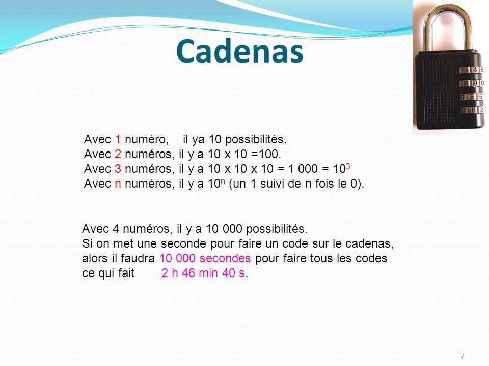 Cadenas Avec 1 numéro, il ya 10 possibilités. Avec 2 numéros, il y a 10 x 10 =100. Avec 3 numéros, il y a 10 x 10 x 10 = 1 000 = 10 3 Avec n numéros,