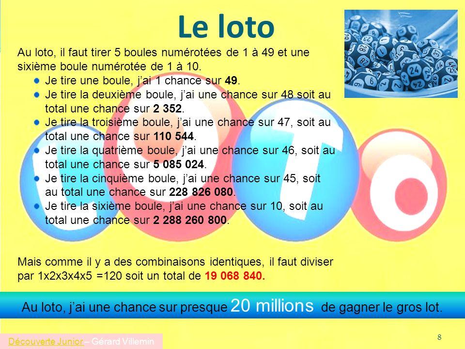 Le loto Au loto, il faut tirer 5 boules numérotées de 1 à 49 et une sixième boule numérotée de 1 à 10. Je tire une boule, jai 1 chance sur 49. Je tire