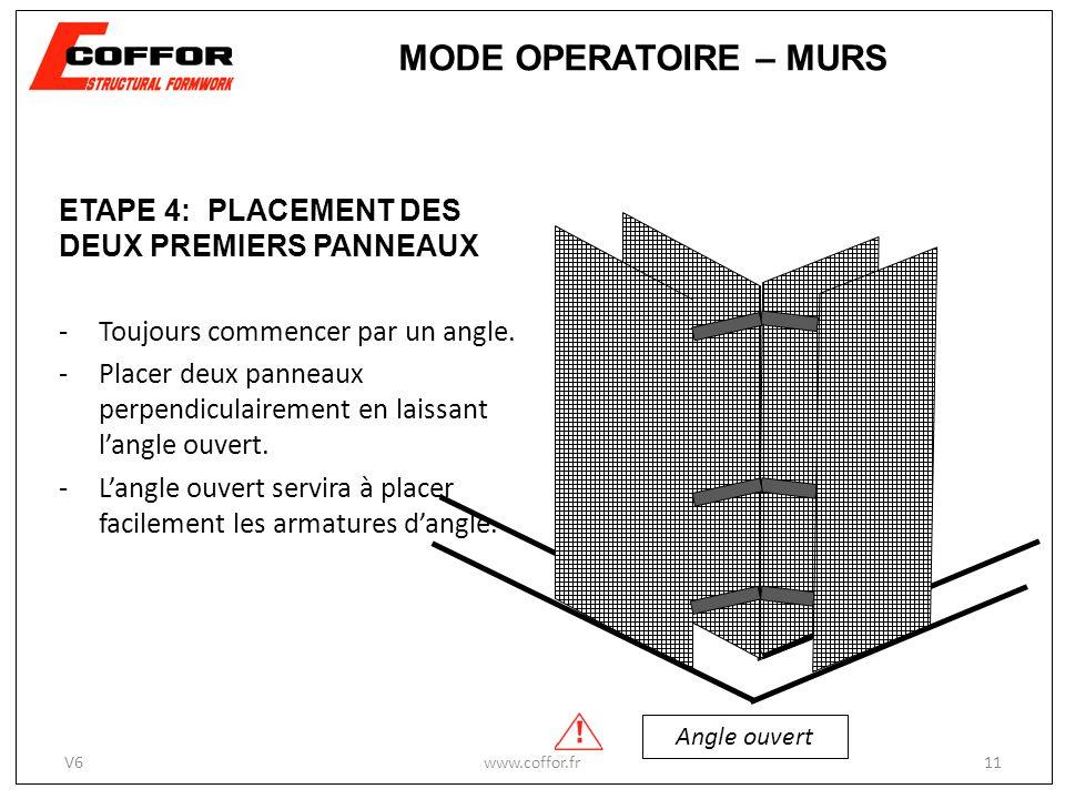 ETAPE 4: PLACEMENT DES DEUX PREMIERS PANNEAUX -Toujours commencer par un angle. -Placer deux panneaux perpendiculairement en laissant langle ouvert. -