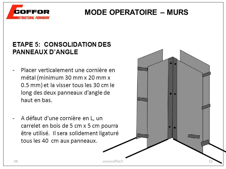 ETAPE 5: CONSOLIDATION DES PANNEAUX DANGLE -Placer verticalement une cornière en métal (minimum 30 mm x 20 mm x 0.5 mm) et la visser tous les 30 cm le long des deux panneaux dangle de haut en bas.