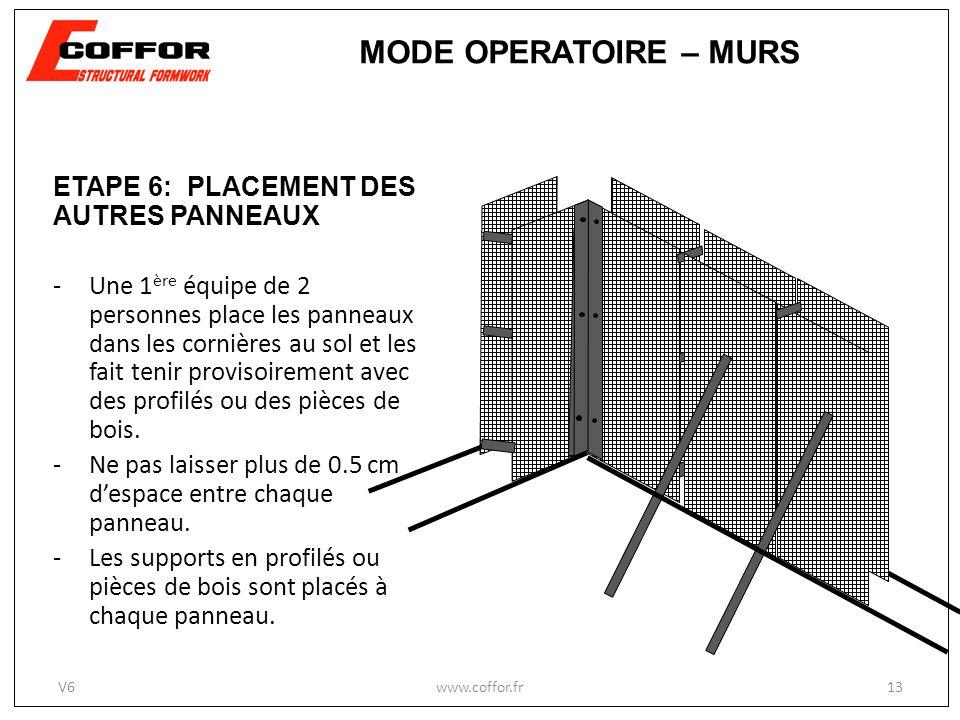 ETAPE 6: PLACEMENT DES AUTRES PANNEAUX -Une 1 ère équipe de 2 personnes place les panneaux dans les cornières au sol et les fait tenir provisoirement avec des profilés ou des pièces de bois.