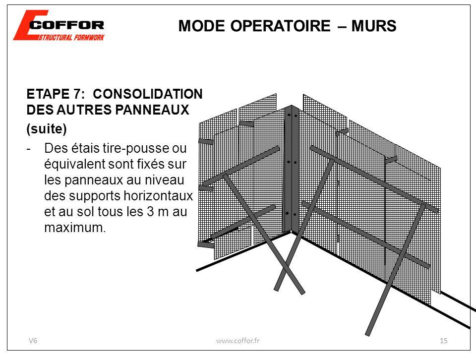 ETAPE 7: CONSOLIDATION DES AUTRES PANNEAUX (suite) -Des étais tire-pousse ou équivalent sont fixés sur les panneaux au niveau des supports horizontaux et au sol tous les 3 m au maximum.