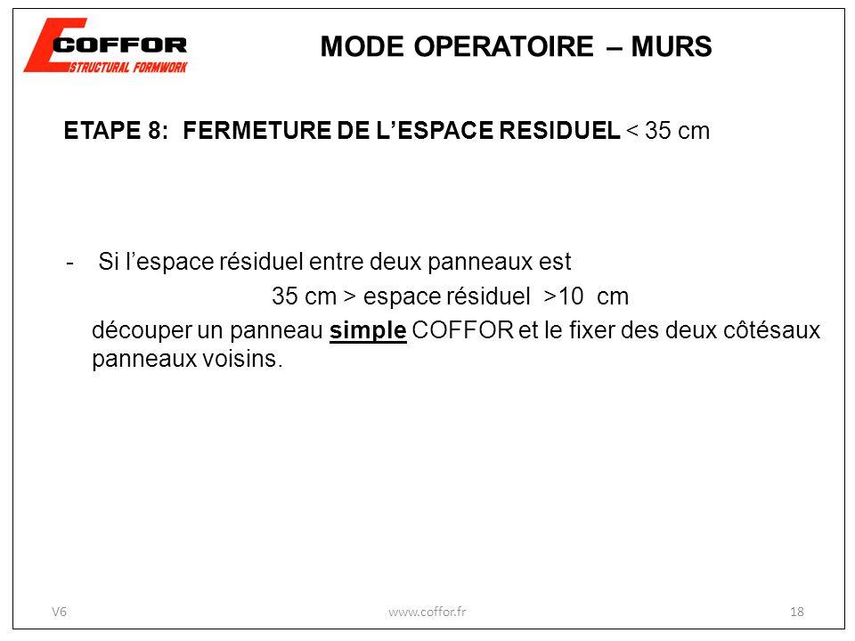 ETAPE 8: FERMETURE DE LESPACE RESIDUEL < 35 cm -Si lespace résiduel entre deux panneaux est 35 cm > espace résiduel >10 cm découper un panneau simple