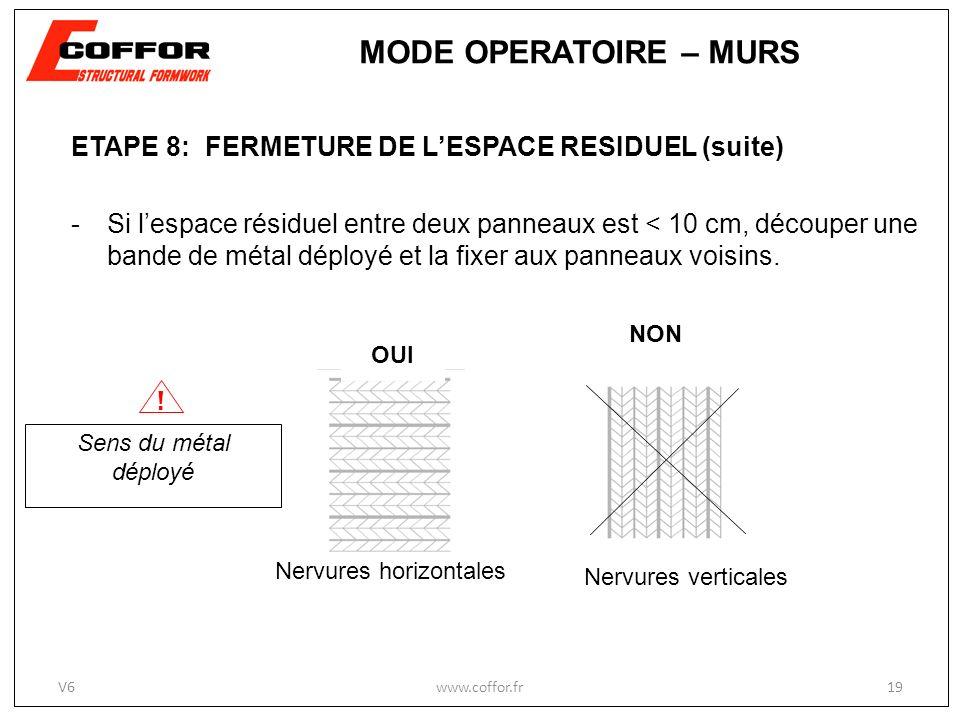 ETAPE 8: FERMETURE DE LESPACE RESIDUEL (suite) -Si lespace résiduel entre deux panneaux est < 10 cm, découper une bande de métal déployé et la fixer a