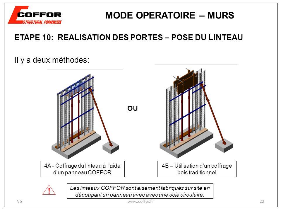 ETAPE 10: REALISATION DES PORTES – POSE DU LINTEAU Il y a deux méthodes: 4A - Coffrage du linteau à l aide d un panneau COFFOR 4B – Utilisation d un coffrage bois traditionnel OU .