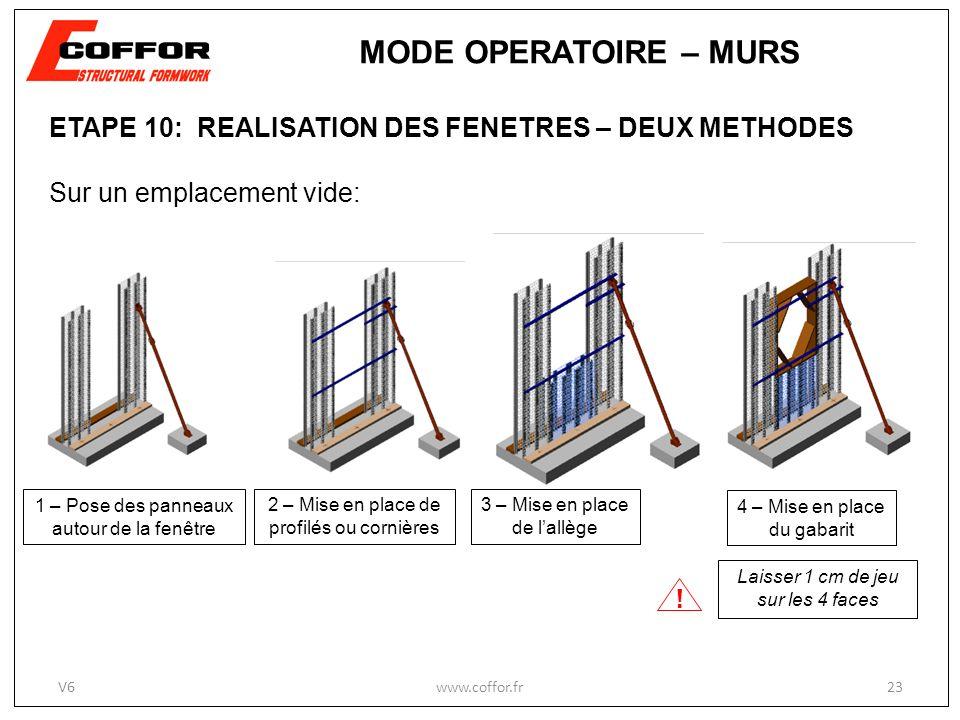 ETAPE 10: REALISATION DES FENETRES – DEUX METHODES Sur un emplacement vide: 1 – Pose des panneaux autour de la fenêtre 2 – Mise en place de profilés ou cornières .