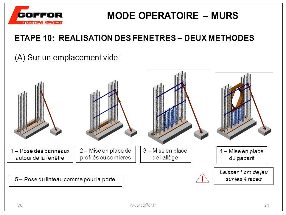ETAPE 10: REALISATION DES FENETRES – DEUX METHODES (A) Sur un emplacement vide: 1 – Pose des panneaux autour de la fenêtre 2 – Mise en place de profilés ou cornières .