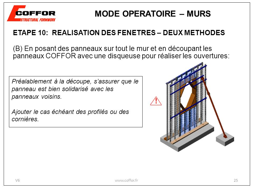 ETAPE 10: REALISATION DES FENETRES – DEUX METHODES (B) En posant des panneaux sur tout le mur et en découpant les panneaux COFFOR avec une disqueuse p