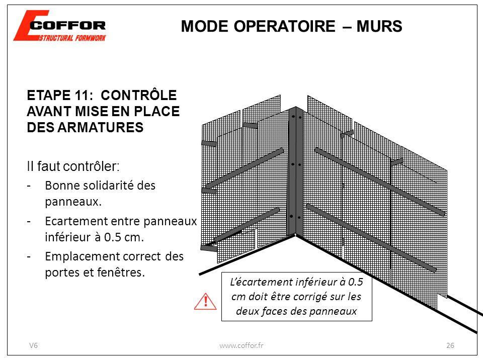 ETAPE 11: CONTRÔLE AVANT MISE EN PLACE DES ARMATURES Il faut contrôler: -Bonne solidarité des panneaux. -Ecartement entre panneaux inférieur à 0.5 cm.