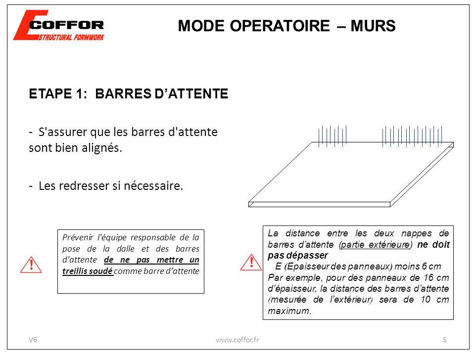 ETAPE 1: BARRES DATTENTE - S'assurer que les barres d'attente sont bien alignés. - Les redresser si nécessaire. Prévenir l'équipe responsable de la po
