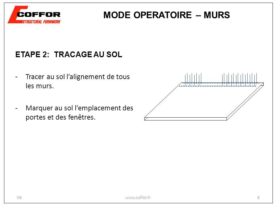 ETAPE 2: TRACAGE AU SOL -Tracer au sol lalignement de tous les murs. -Marquer au sol lemplacement des portes et des fenêtres. www.coffor.fr6 MODE OPER