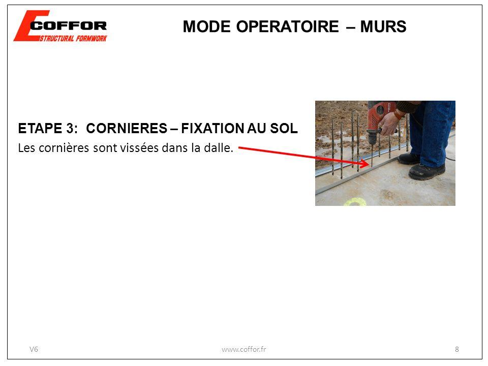 www.coffor.fr8 ETAPE 3: CORNIERES – FIXATION AU SOL Les cornières sont vissées dans la dalle. MODE OPERATOIRE – MURS V6