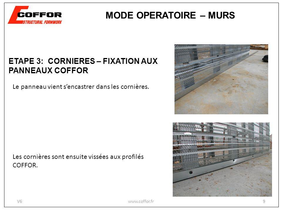 Les cornières sont ensuite vissées aux profilés COFFOR. Le panneau vient sencastrer dans les cornières. www.coffor.fr9 MODE OPERATOIRE – MURS ETAPE 3: