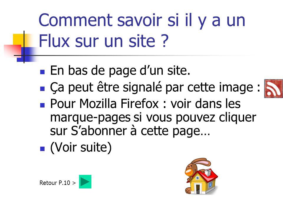 Comment savoir si il y a un Flux sur un site . En bas de page dun site.