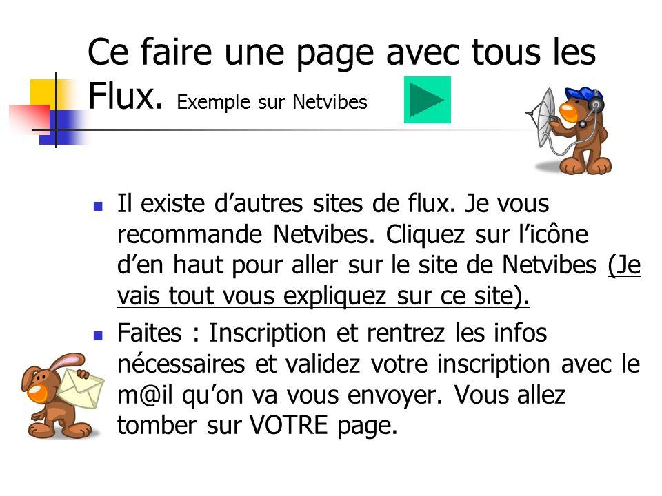 Ce faire une page avec tous les Flux. Exemple sur Netvibes Il existe dautres sites de flux.