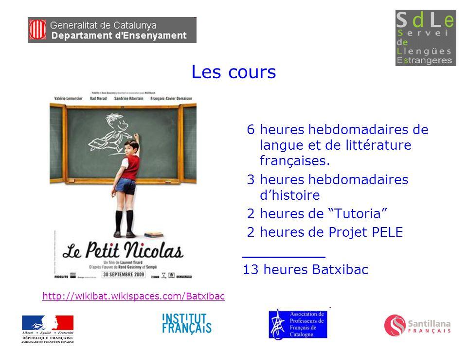 Les cours 6 heures hebdomadaires de langue et de littérature françaises. 3 heures hebdomadaires dhistoire 2 heures de Tutoria 2 heures de Projet PELE