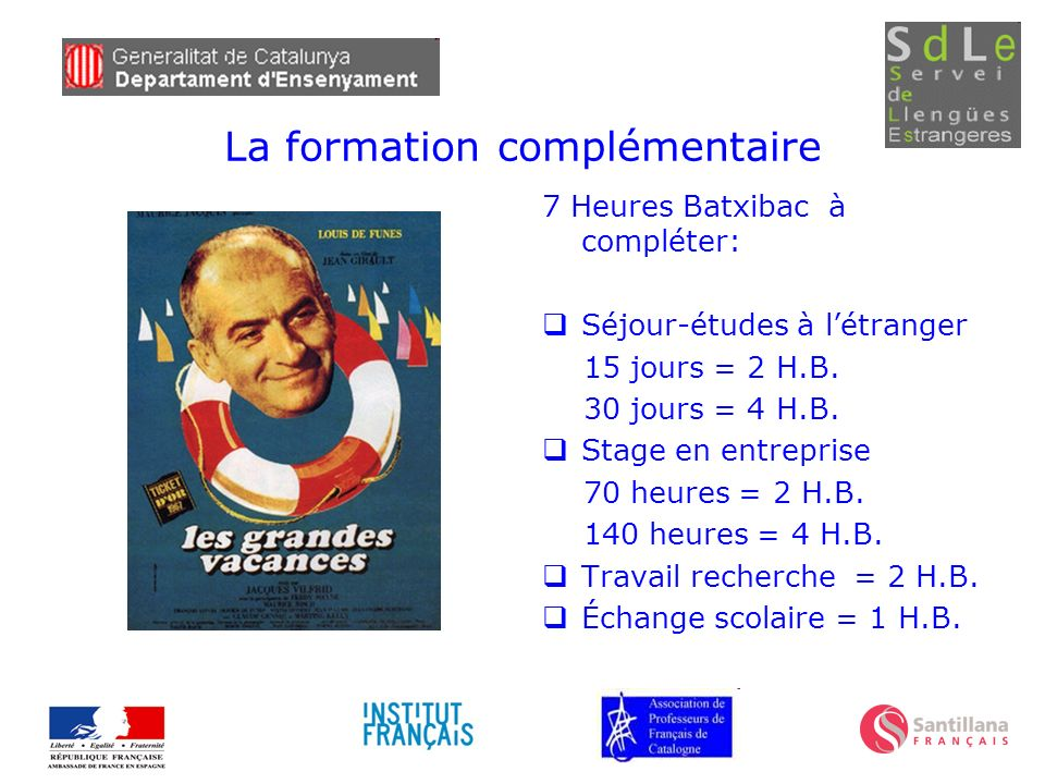 La formation complémentaire 7 Heures Batxibac à compléter: Séjour-études à létranger 15 jours = 2 H.B. 30 jours = 4 H.B. Stage en entreprise 70 heures