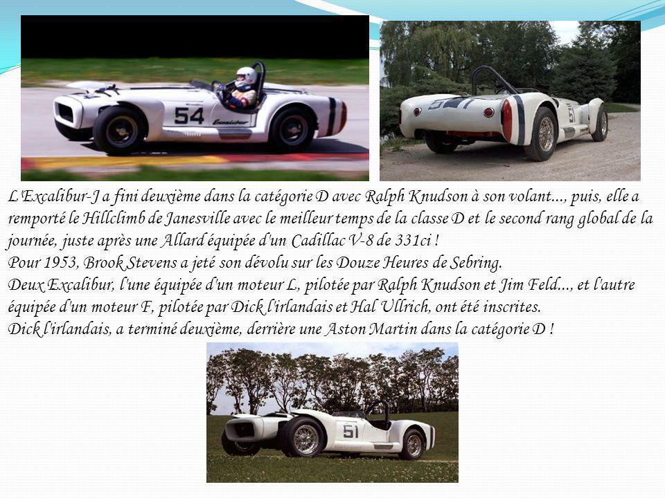 L'Excalibur-J a fini deuxième dans la catégorie D avec Ralph Knudson à son volant..., puis, elle a remporté le Hillclimb de Janesville avec le meilleu
