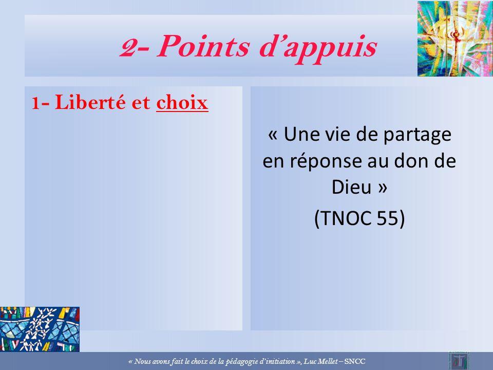 2- Points dappuis 1- Liberté et choix « La foi chrétienne sadresse à des libertés… » (LCF 32) « à des sujets actifs… » (DGC 167) « Nous avons fait le