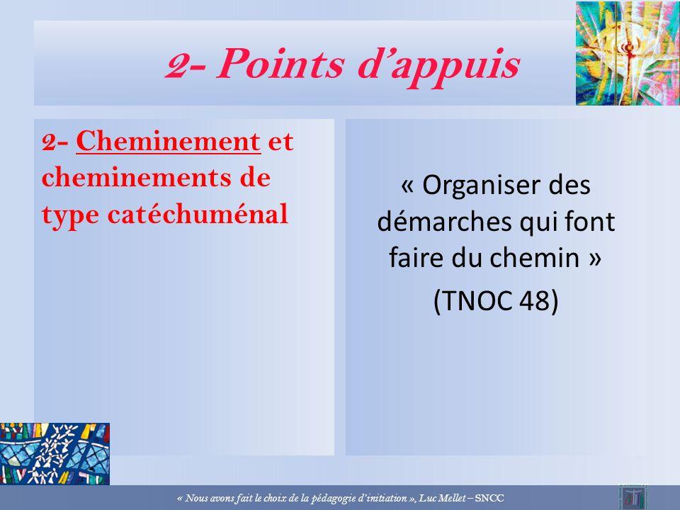 2- Points dappuis 1- Liberté et choix « Une vie de partage en réponse au don de Dieu » (TNOC 55) « Nous avons fait le choix de la pédagogie dinitiatio
