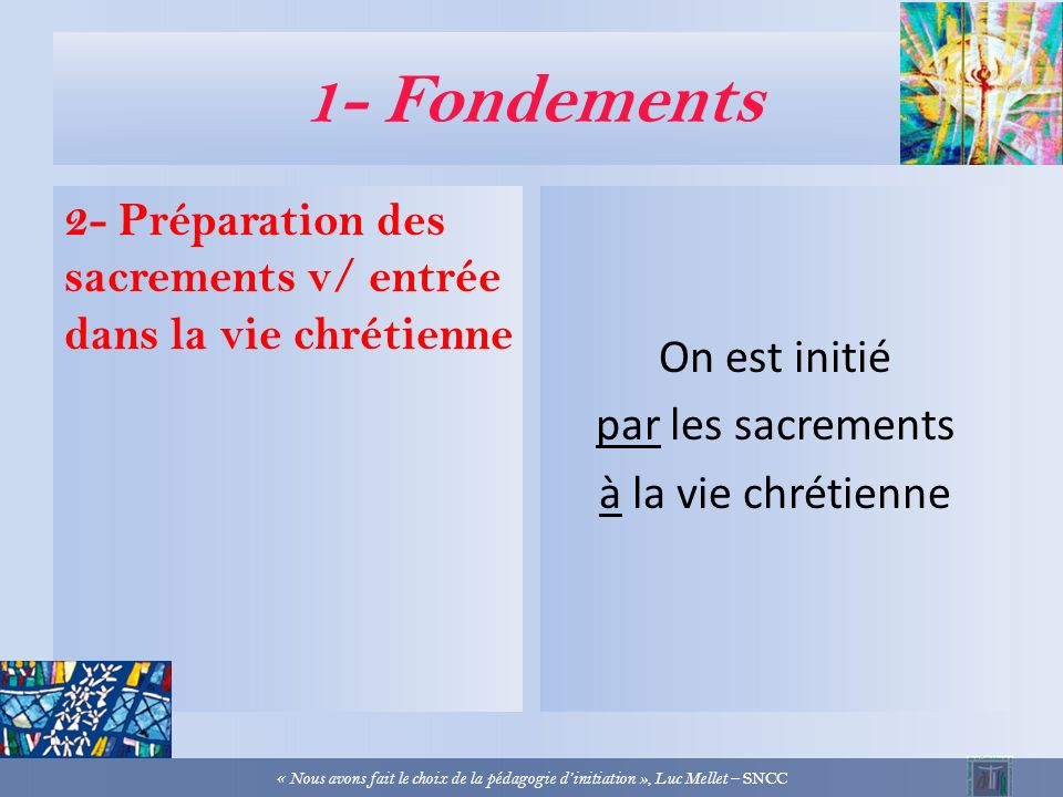 1- Fondements 1- Pédagogie de la foi et pédagogie dinitiation « Lexpérience chrétienne est la réalisation en chacun de lacte même de Dieu qui se manif
