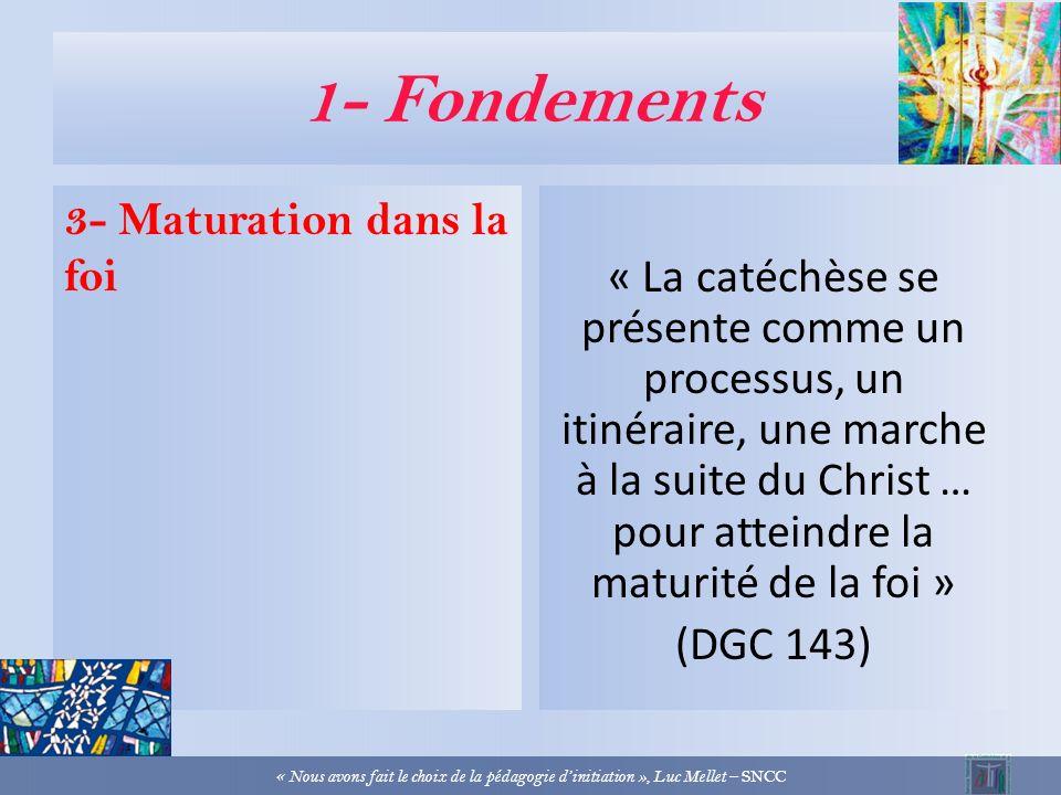 1- Fondements 2- Préparation des sacrements v/ entrée dans la vie chrétienne On est initié par les sacrements à la vie chrétienne « Nous avons fait le