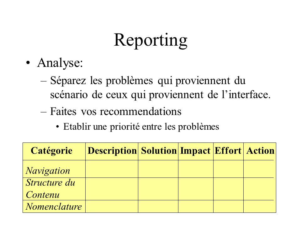 Reporting Analyse: –Séparez les problèmes qui proviennent du scénario de ceux qui proviennent de linterface.