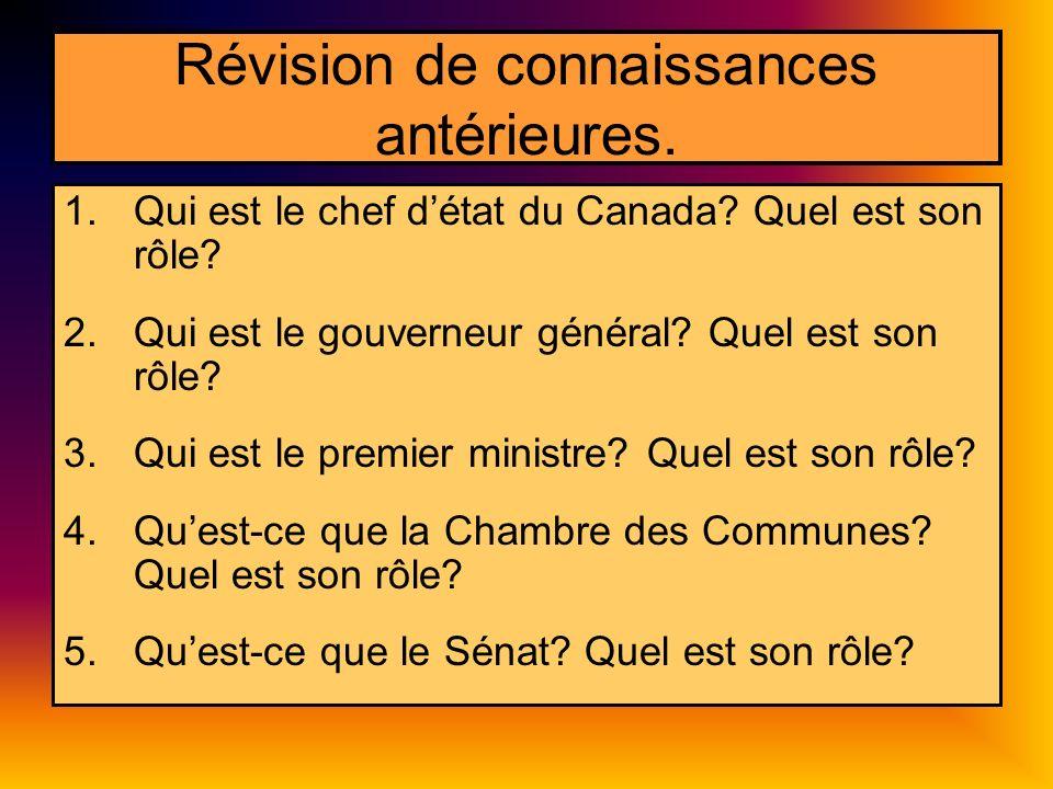 Révision de connaissances antérieures. 1.Qui est le chef détat du Canada? Quel est son rôle? 2.Qui est le gouverneur général? Quel est son rôle? 3.Qui