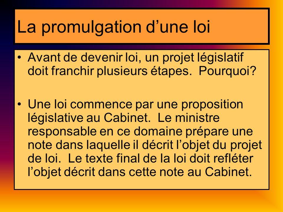 La promulgation dune loi Avant de devenir loi, un projet législatif doit franchir plusieurs étapes. Pourquoi? Une loi commence par une proposition lég