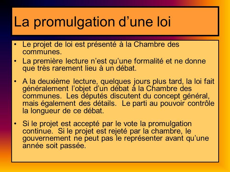 La promulgation dune loi Le projet de loi est présenté à la Chambre des communes. La première lecture nest quune formalité et ne donne que très rareme