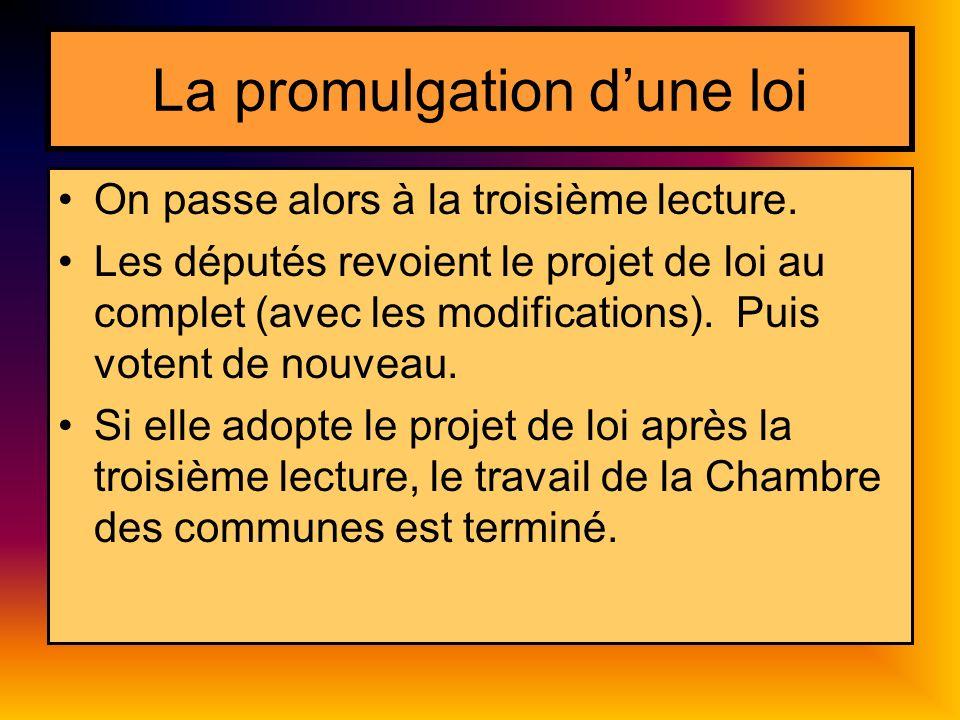La promulgation dune loi On passe alors à la troisième lecture.